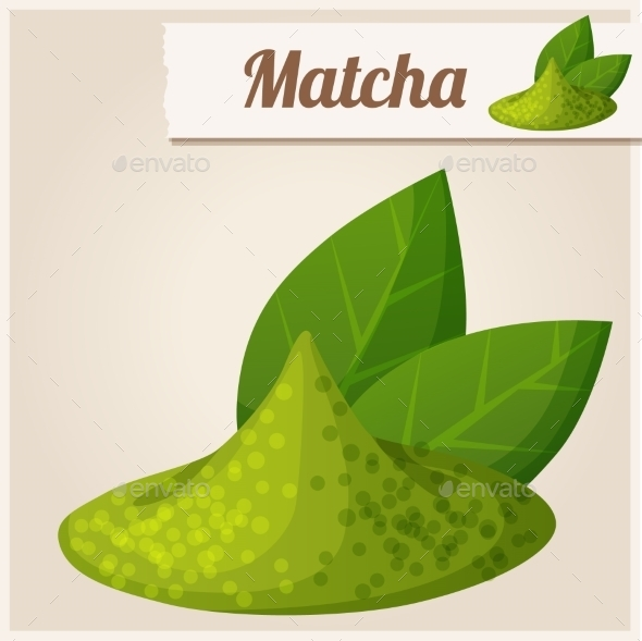 Green Matcha Tea. Detailed Vector Icon - Food Objects