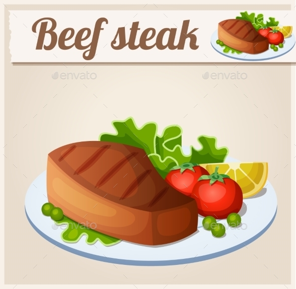 Beef Steak. Detailed Vector Icon. - Food Objects