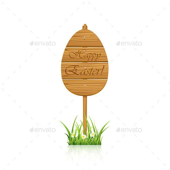 Wooden Easter Sign - Decorative Symbols Decorative