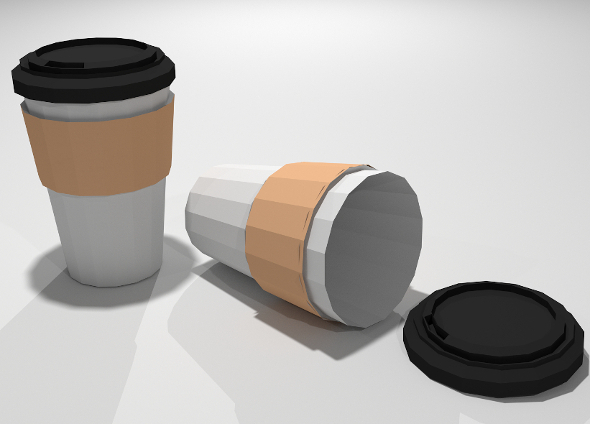 Low Poly Paper Coffee Cup - 3DOcean Item for Sale