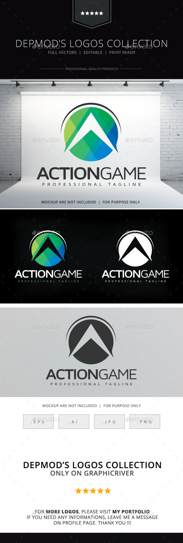 Action Game Logo - Letters Logo Templates