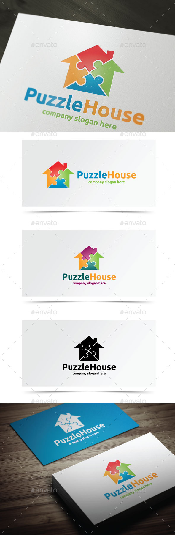Puzzle House - Objects Logo Templates
