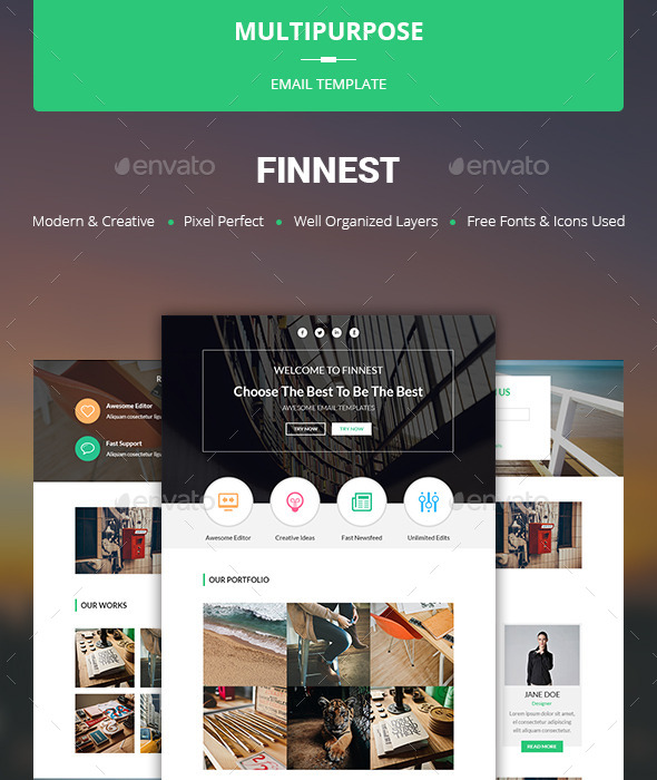 Finnest - Multipurpose Email Template - E-newsletters Web Elements