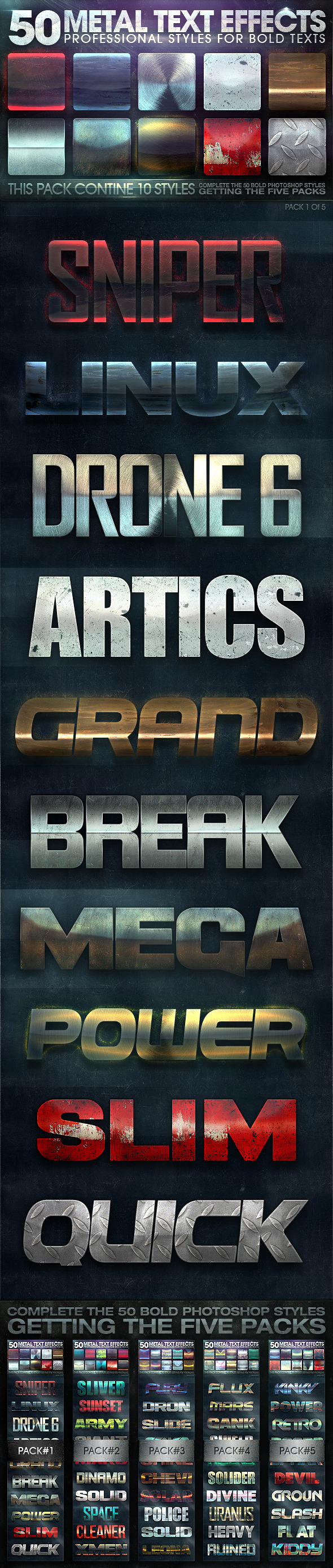 50 Metal Text Effects 1 of 5 - Text Effects Styles