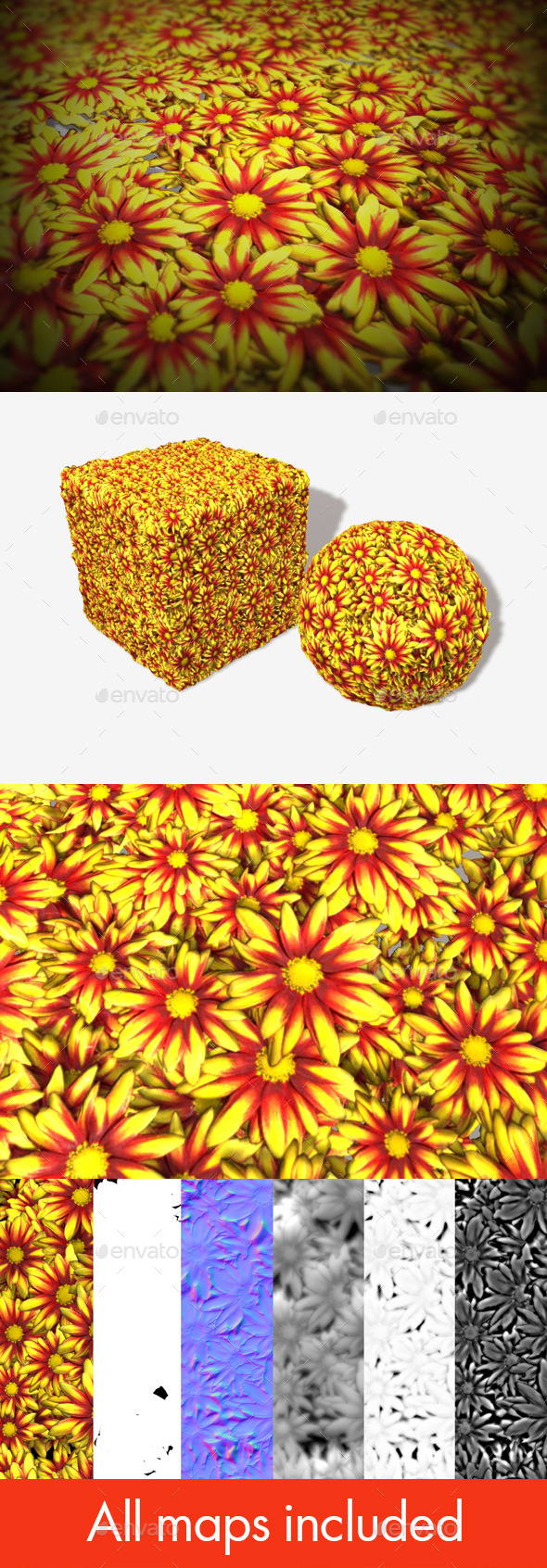 Yellow and Red Flowers Seamless Texture - 3DOcean Item for Sale