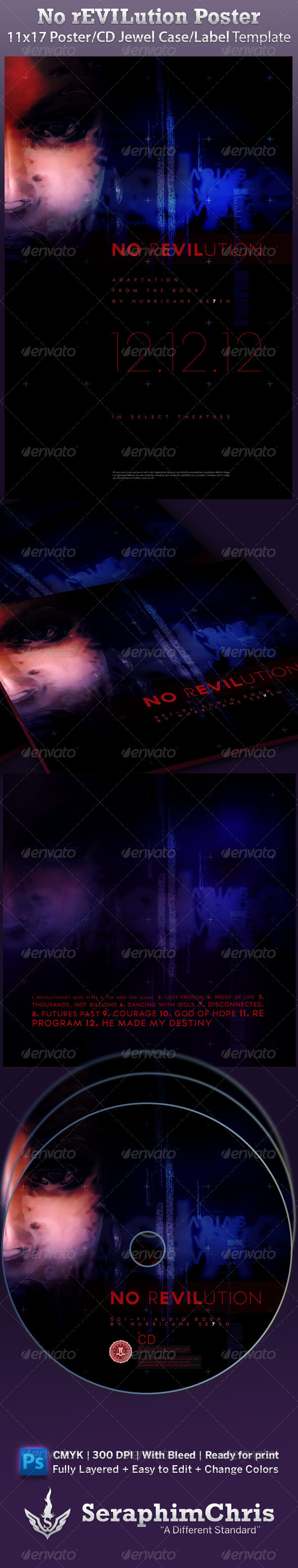 No Revolution Poster and CD Jewel Case Template - Miscellaneous Print Templates