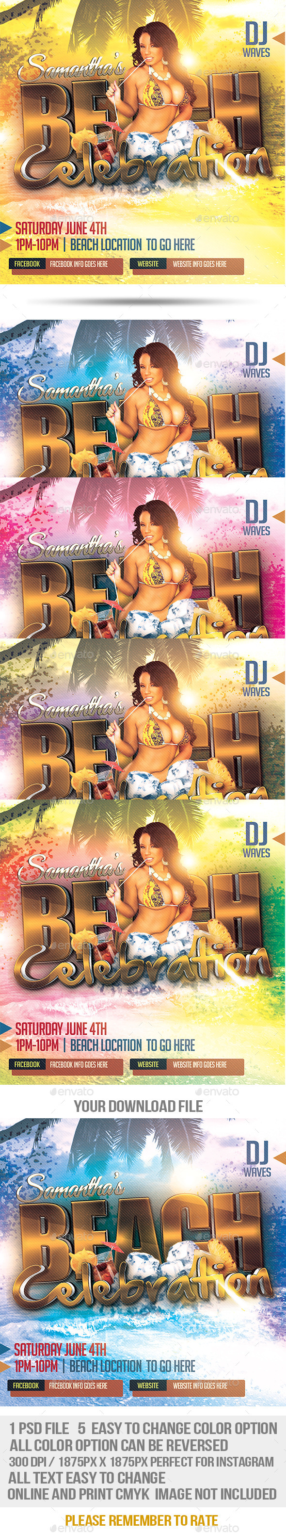 Beach Celebration Promotional Flyer - Events Flyers