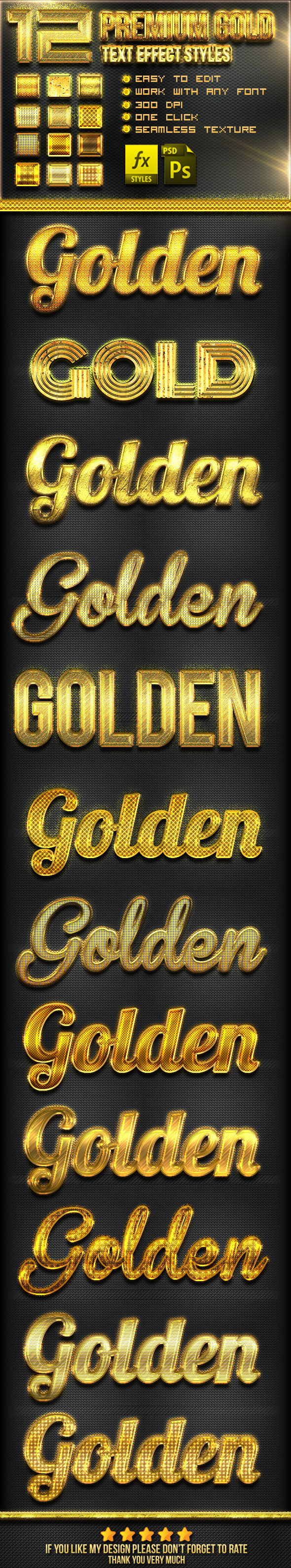 12 Gold Photoshop Text Effect Styles - Text Effects Styles