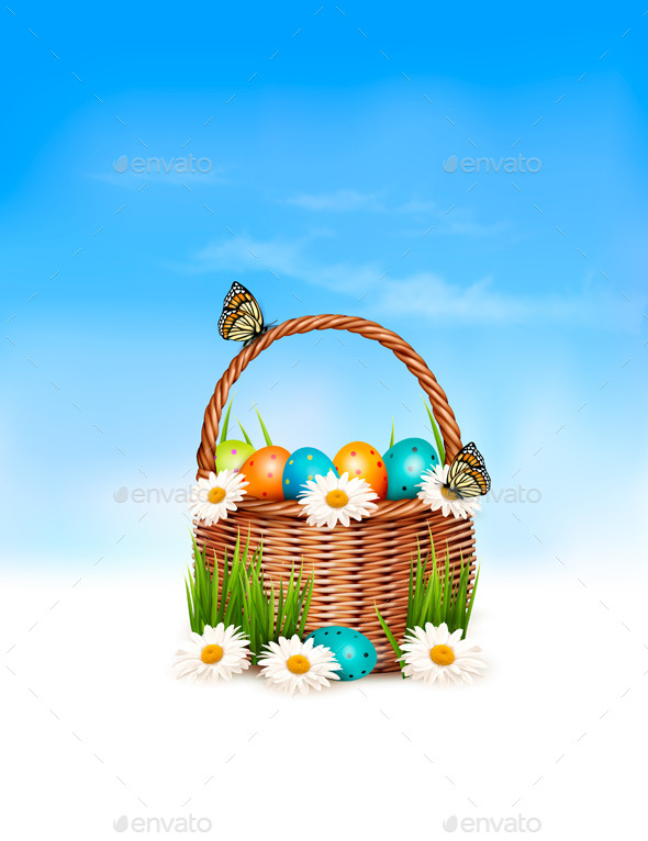 Happy Easter Background Basket with Eggs - Seasons/Holidays Conceptual