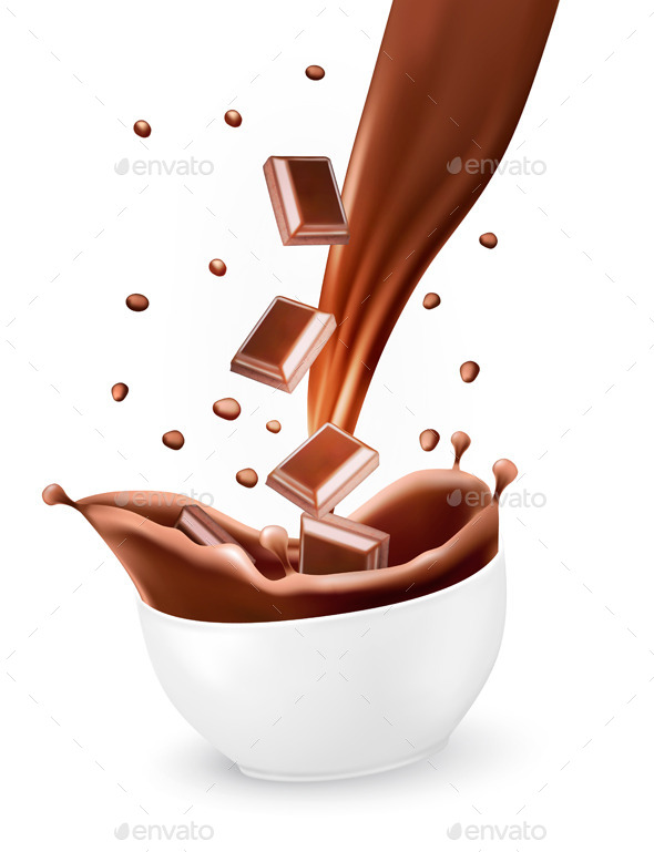 Splash of Brown Hot Chocolate in Bowl - Food Objects