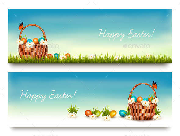 Two Happy Easter Banners  - Seasons/Holidays Conceptual