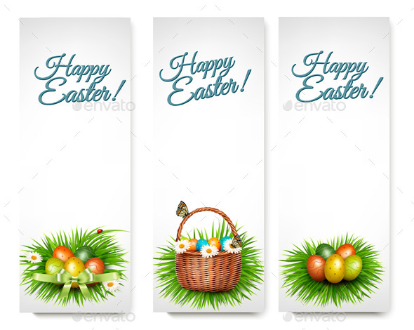 Three Happy Easter Banners - Seasons/Holidays Conceptual