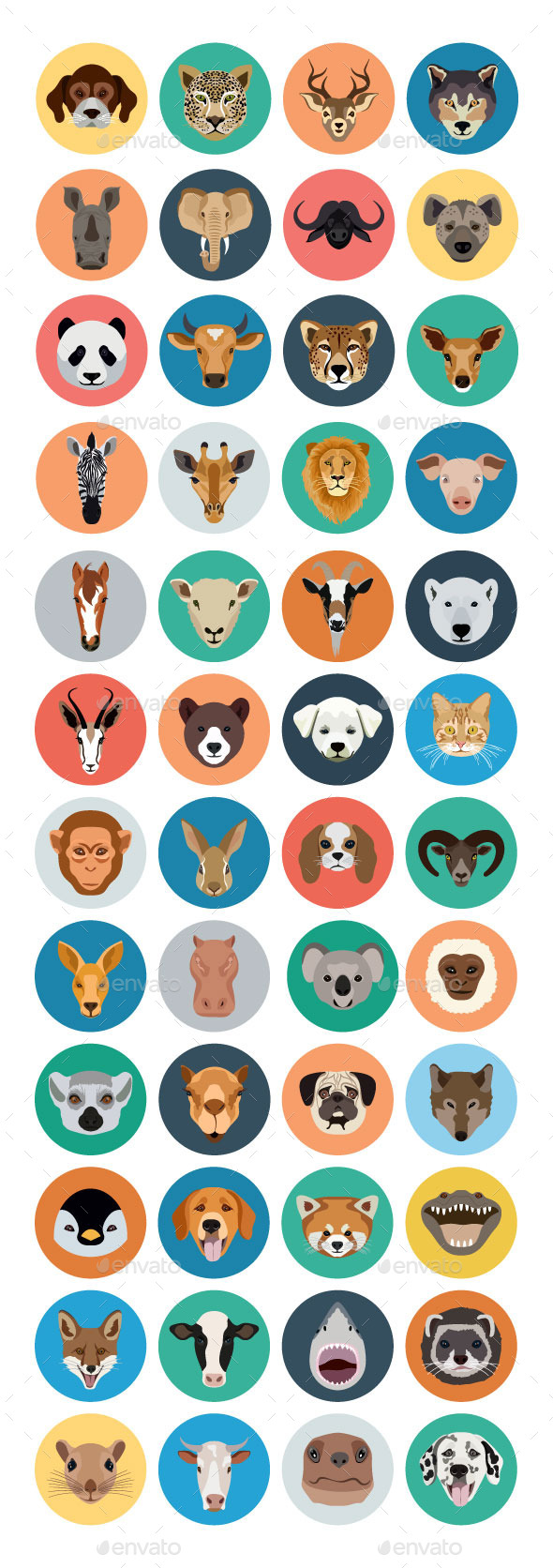 40+ Animals Vector Icons - Animals Characters