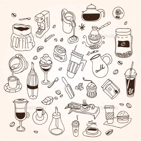 Coffee Doodles - Food Objects