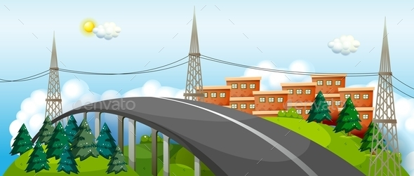 A Curved City Road - Buildings Objects