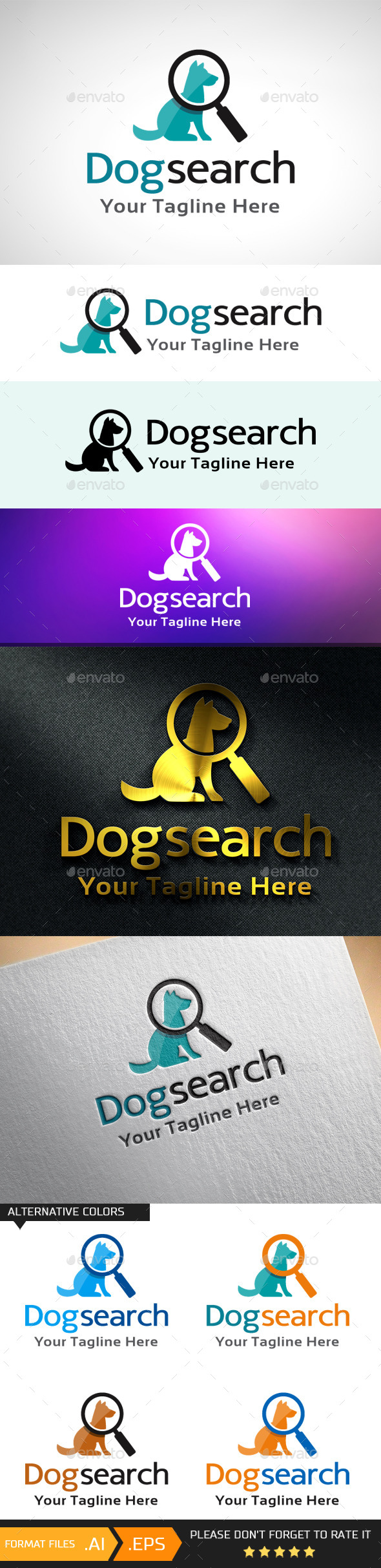 Dog Search Logo Template - Animals Logo Templates