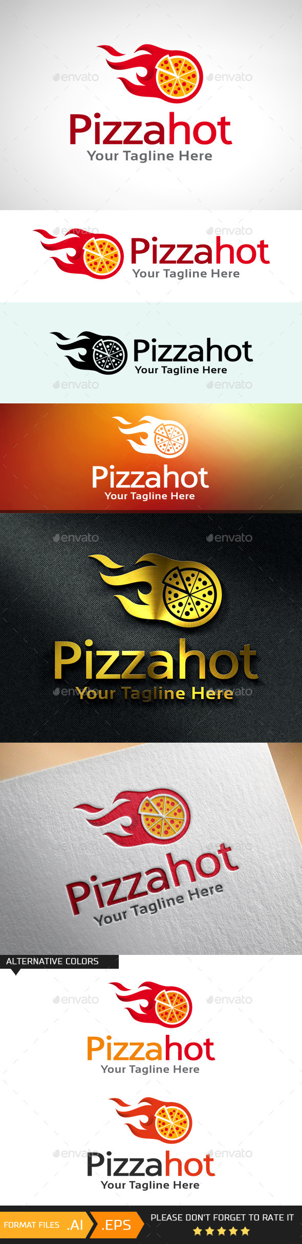 Pizza Hot Logo Template - Food Logo Templates