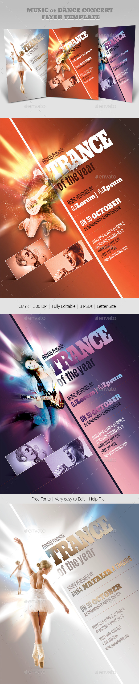 Music or Dance Concert Flyer Templates - Events Flyers