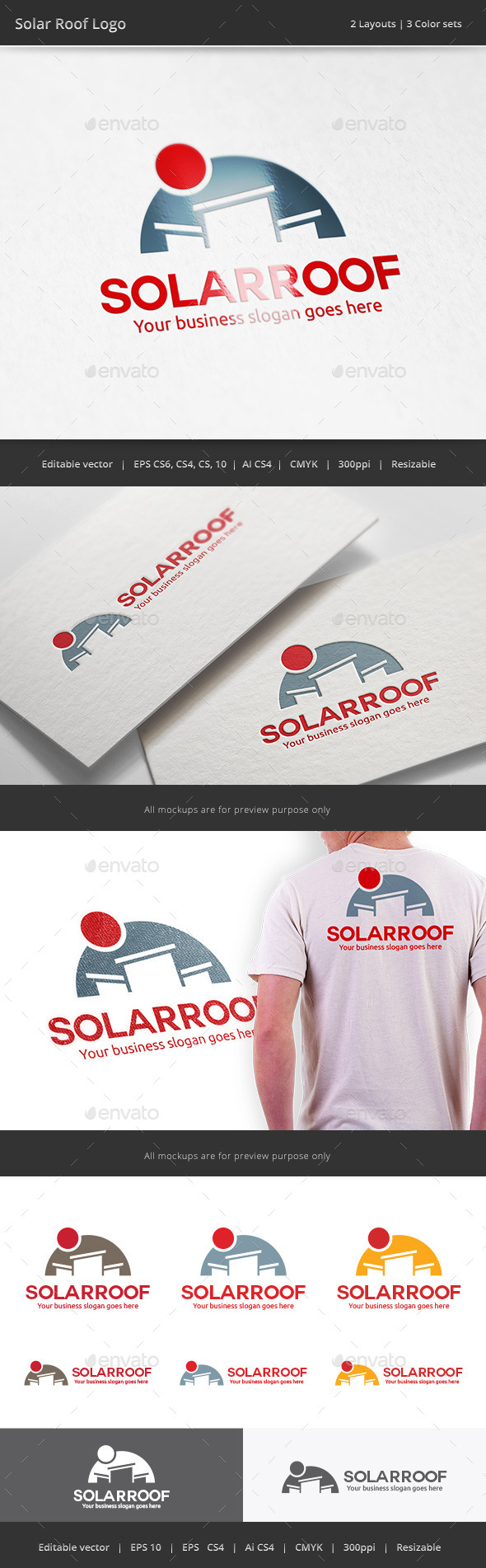 Solar Cell Roof Logo - Objects Logo Templates