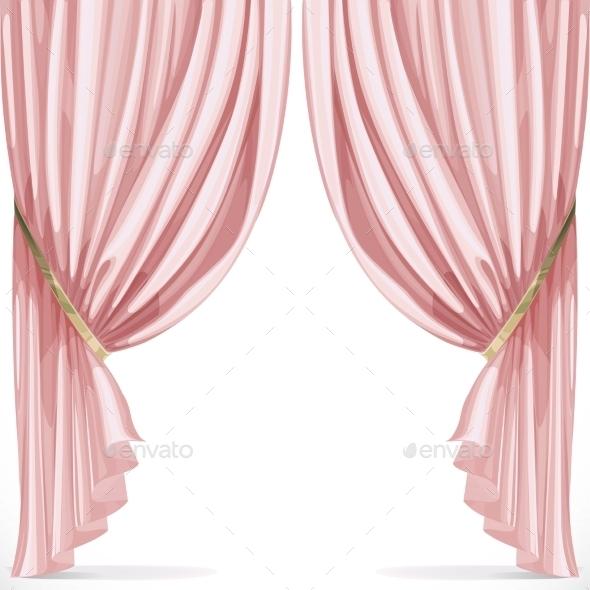 Pink Curtains  - Decorative Vectors