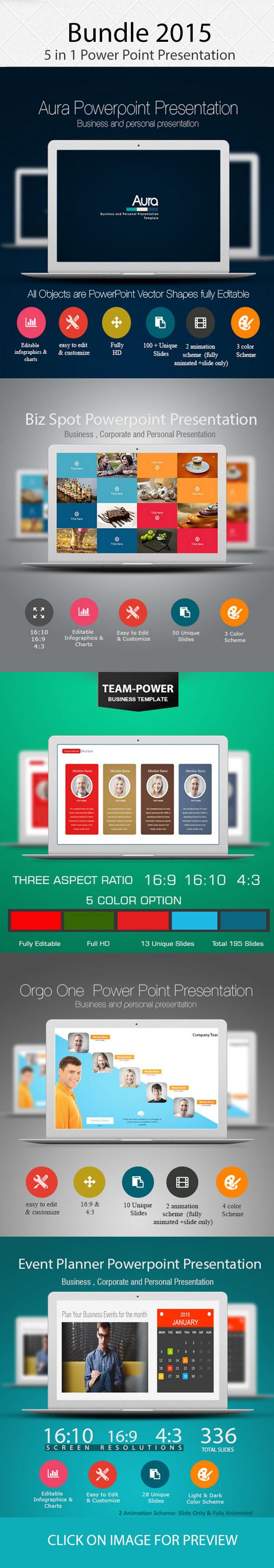 Bundle 2015, 5 in 1 Power Point Presentation - PowerPoint Templates Presentation Templates