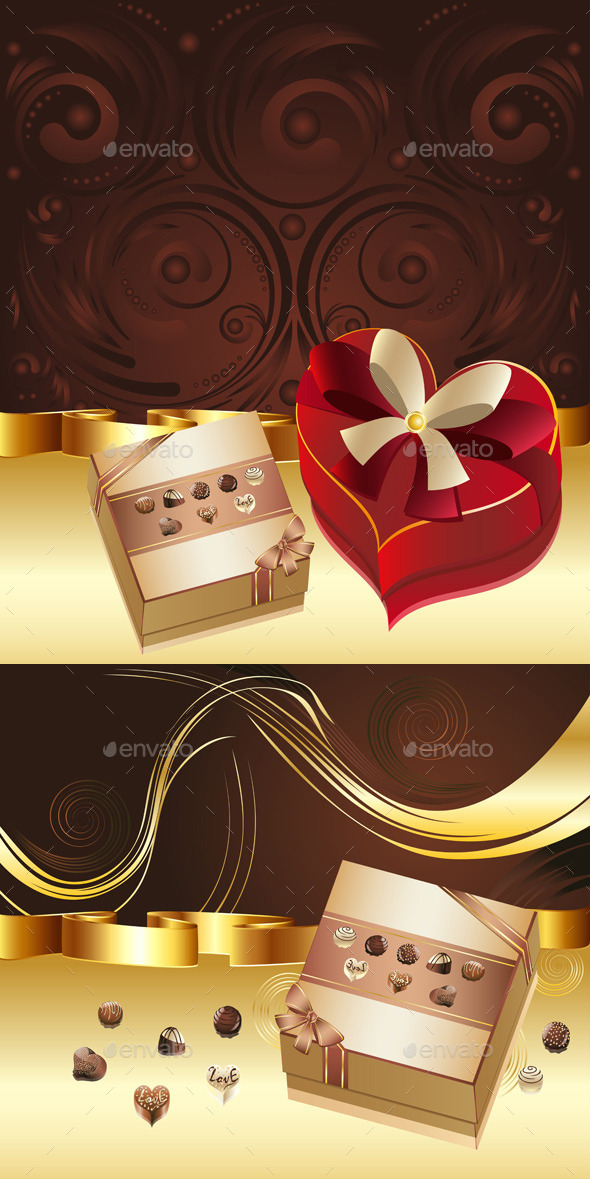Brown Background with Chocolate Box - Food Objects