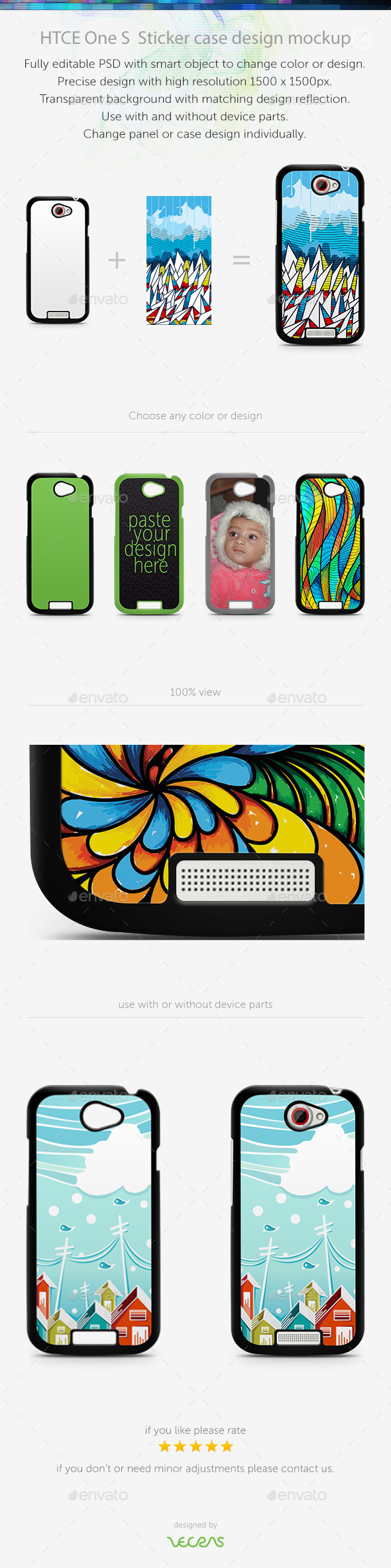 HTCE One X Sticker Case Design Mockup - Mobile Displays