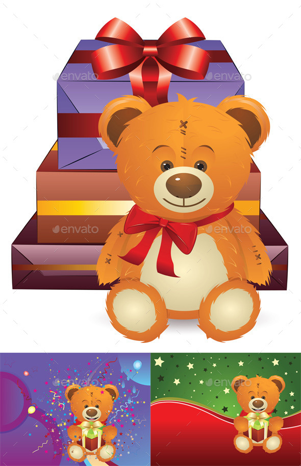 Teddy Bear with Gift Box - Birthdays Seasons/Holidays
