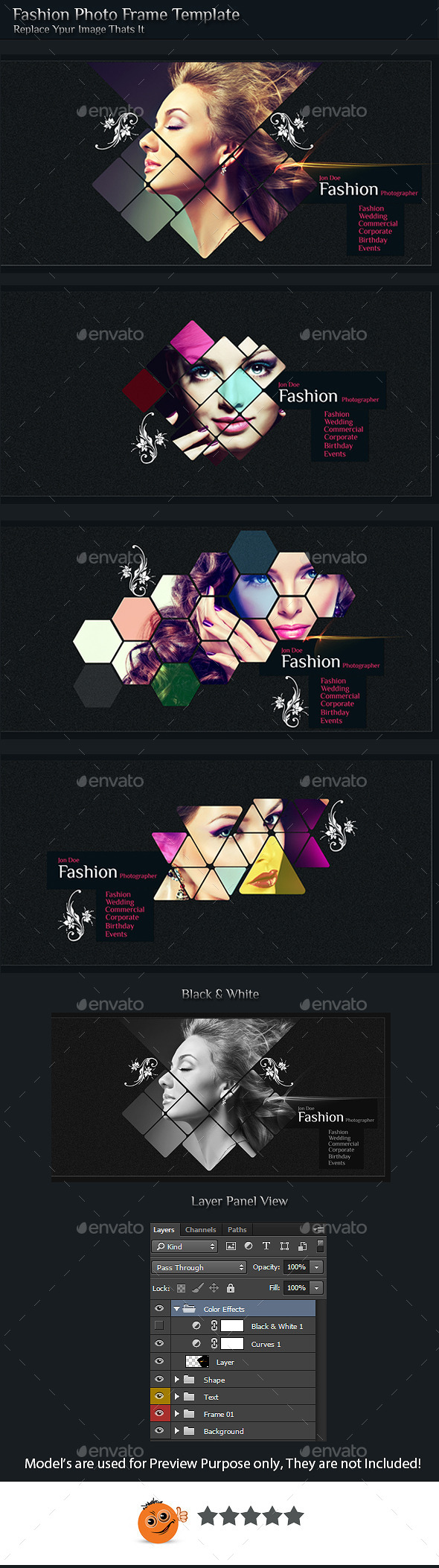 Fashion Photo Frame Template  - Photo Templates Graphics