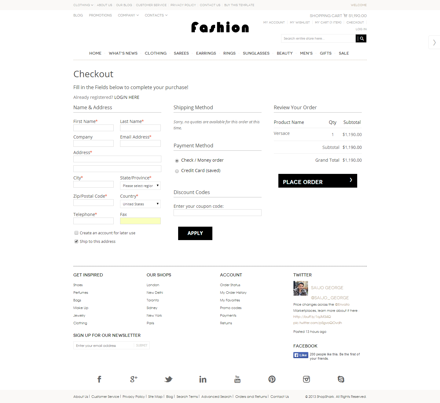 Responsive One Page Checkout