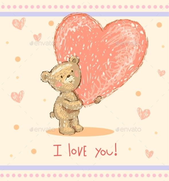 Greeting Card with Teddy Bear - Birthdays Seasons/Holidays