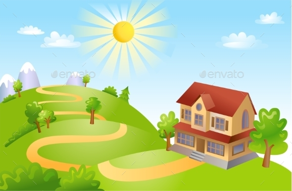 Farm House Landscape  - Landscapes Nature