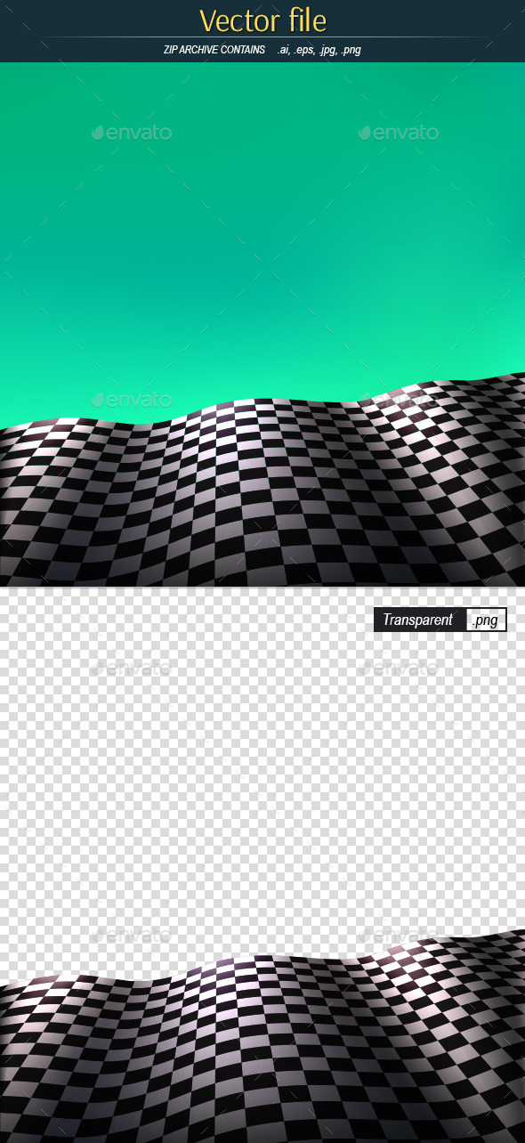 Checkered Flag on Green Background - Backgrounds Decorative