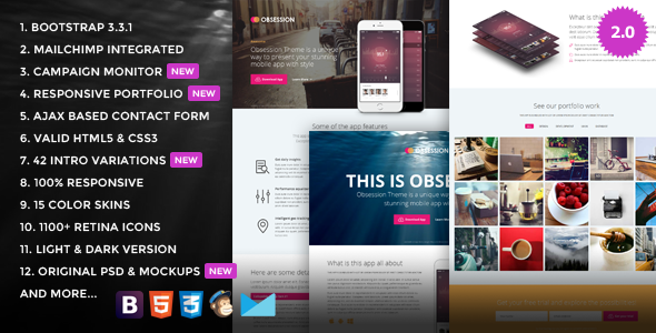 Obsession – Responsive App Landing Page