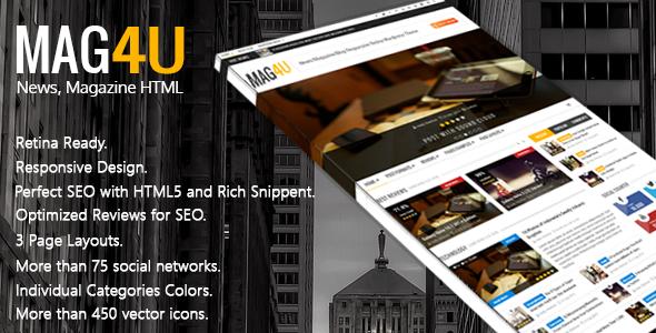 Mag4u – Responsive Retina HTML News, Magazine, Blog