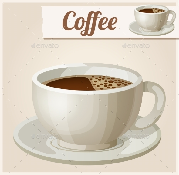 Cup of Coffee. Detailed Vector Icon - Food Objects
