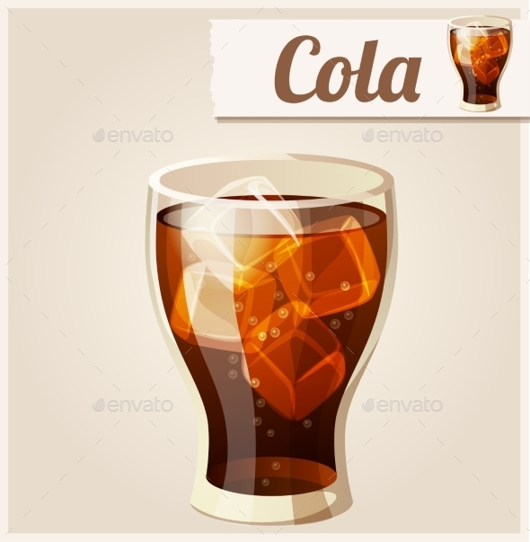 Glass of Cola with Ice. Detailed Vector Icon.  - Food Objects