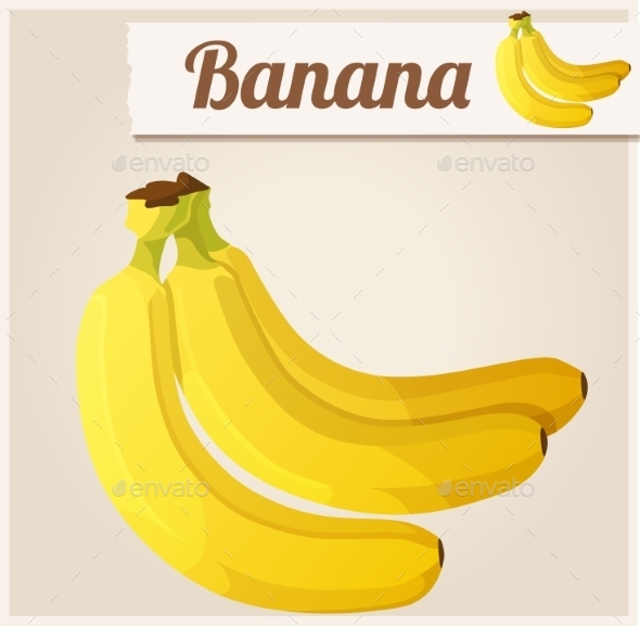 Banana.  Detailed Vector Icon - Food Objects