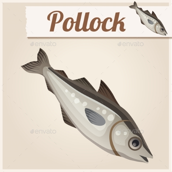 Fresh Pollock Fish. Detailed Vector Icon. - Food Objects