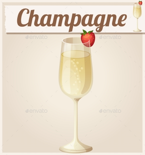 Champagne with Strawberry - Food Objects