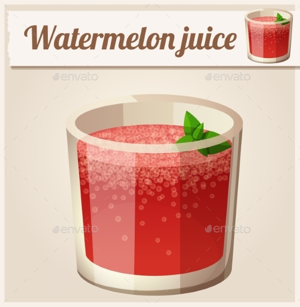 Watermelon Juice. Detailed Vector Icon.  - Food Objects