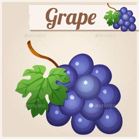 Grape. Detailed Vector Icon. - Food Objects