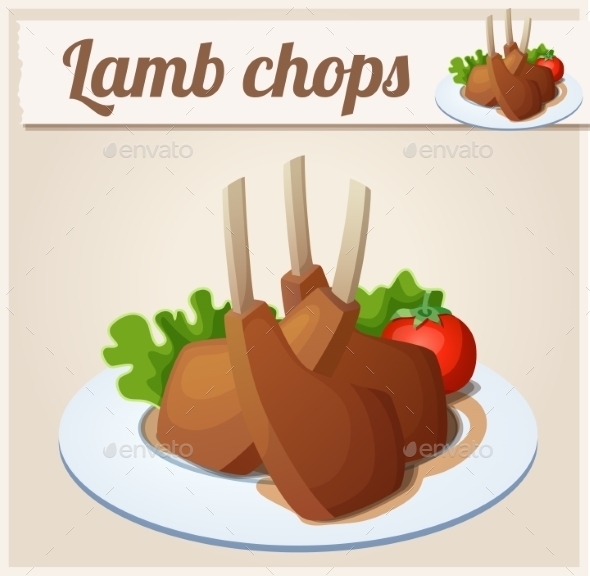 Lamb Chops. Detailed Vector Icon.  - Food Objects