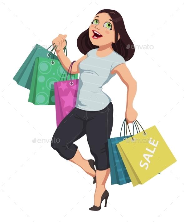 Cartoon Shopping Girl - People Characters
