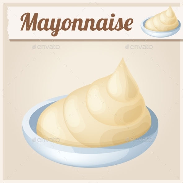 Mayonnaise. Detailed Vector Icon. - Food Objects