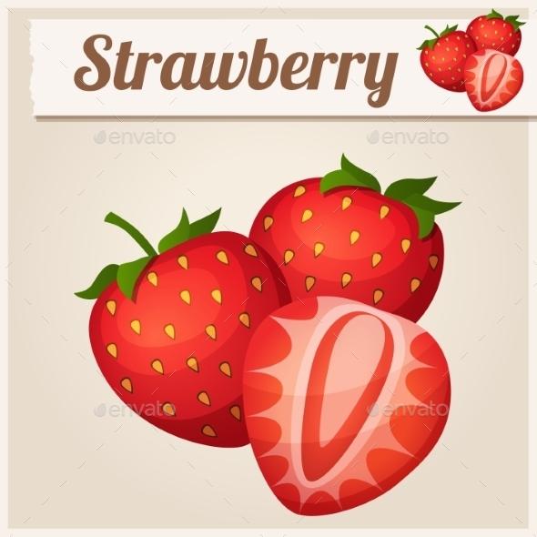 Three Strawberries - Food Objects