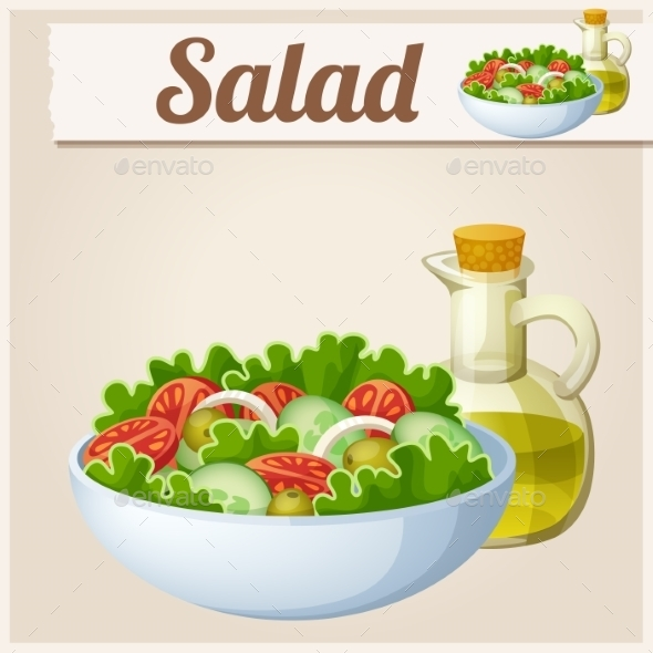 Fresh Salad with Olive Oil. Detailed Vector Icon.  - Food Objects