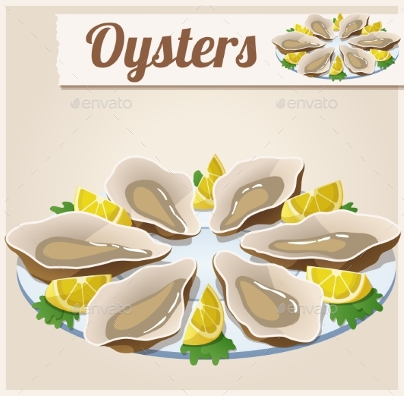 Oysters. Detailed Vector Icon.  - Food Objects