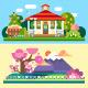 Flat Spring and Summer Landscapes - GraphicRiver Item for Sale