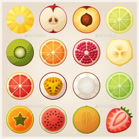 Set of Fruit Halves. - Food Objects
